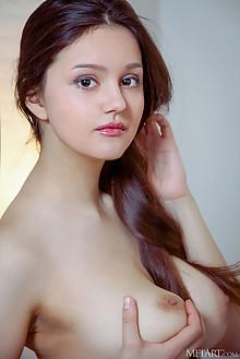 Adeline in Tie Dye by Albert Varin indoor brunette brown eyes boobies busty hairy unshaven pussy custom