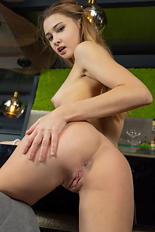 Ivi Rein in At The Pub by Tora Ness indoor blonde green eyes small tits shaved pussy ass custom