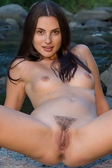 Jasmine Jazz in Jasmine Jazz by Charles Hollander outdoor river sunny brunette trimmed pussy