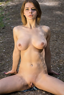Presenting Yelena by Tora Ness outdoor woods blonde blue eyes boobies shaved pussy big labia latest