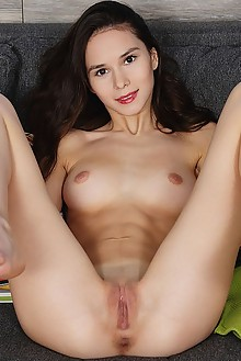 Leona Mia in Starting The Week by Flora indoor brunette brown eyes shaved pussy fingering