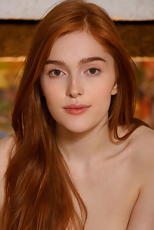 Jia Lissa in Red Drummer by Luca Helios indoor redhead green eyes small tits hairy trimmed pussy ass custom