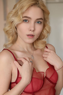 Scarlet in Red Mesh by Natasha Schon indoor blonde blue eyes boobies shaved custom