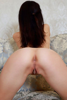 Penelope Eve in Evening Lingerie by Matiss indoor brunette black hair brown eyes boobies shaved pussy ass hips custom