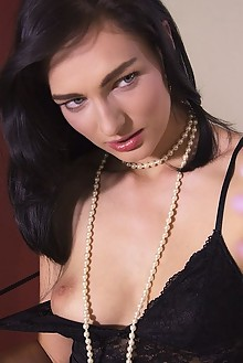 Lee Anne in Livestream by John Chalk indoor brunette black hair blue eyes boobies shaved pussy fingering