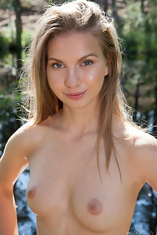 Ieva in Outdoor Nudity by Koenart outdoor woods sunny blonde shaved