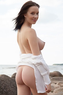Agatha in Eneti by Koenart outdoor beach brunette black hair brown eyes boobies busty shaved pussy labia latest