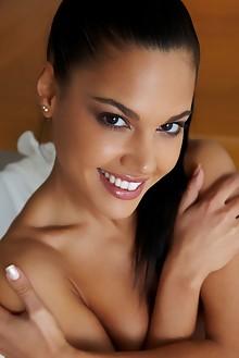 Apolonia in Derya by Erro indoor brunette black hair brown e...