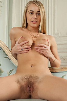 Sarika A in Raddia by Walter Schotten indoor blonde blue eyes boobies hairy unshaven pussy latest