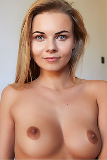 Nordica in Blue and Gold by Erro indoor blonde green eyes shaved pussy labia tanned
