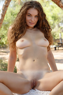 Veronika Glam in Crimped by Rylsky outdoor sunny woods brunette green eyes boobies shaved pussy custom