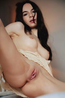 Debora A in Bedmate by Arkisi indoor brunette brown eyes shaved pussy ass
