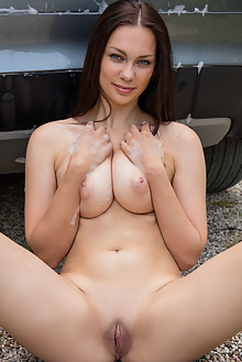 Marion in Car Wash by Koenart outdoor brunette blue eyes boobies busty shaved pussy ass