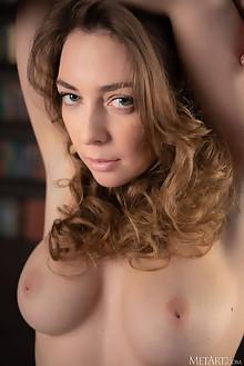 Emerald Ocean in Library by Nudero indoor blonde blue eyes boobies shaved pussy custom