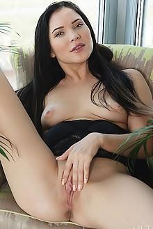 Black Fox in City Garden by Flora indoor brunette black hair shaved pussy ass fingering latest