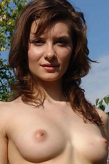 jini walking nature rafael novak outdoor brunette brown boobies puffy ass pussy