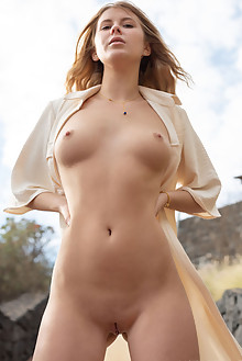 Casey in Trench by Tora Ness outdoor sunny blonde brown eyes boobies shaved tight pussy custom