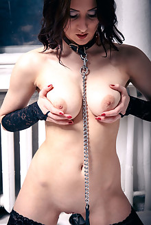 Selena in Leash by Higinio Domingo indoor brunette black hair brown eyes boobies shaved pussy latest