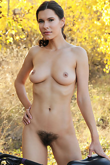 Suzanna A in Riding Into Fall by Fabrice outdoor sunny woods brunette green eyes boobies hairy unshaven bush pussy custom