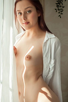 Olivia Honey in Pattern by Albert Varin indoor redhead green eyes small tits shaved pussy ass