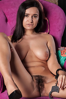 Sanita in Teal by Ron Offlin indoor brunette brown eyes boobies hairy unshaven bush pussy ass latest