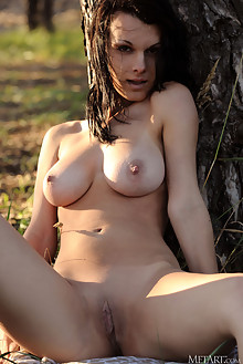 Inga E in Nostalgia by Fabrice outdoor sunny woods brunette ...