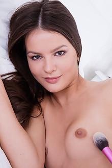 Viva Fleur in Cherry Flavor by Koenart indoor brunette brown eyes shaved pussy