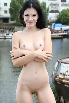 Anie Darling in By The Dock by John Bloomberg outdoor brunette black hair brown eyes shaved pussy