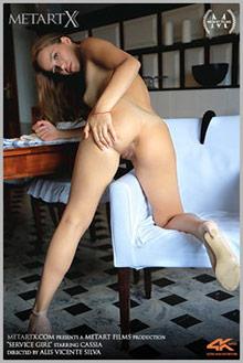 Cassia in Service Girl by Vicente Silva indoor brunette blue...