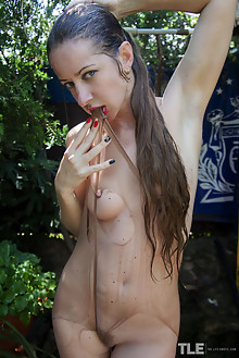 Mika A in Grunge by Angela Linin outdoor wet brunette hairy trimmed pussy