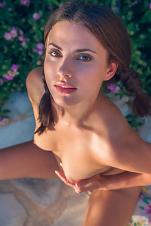Jasmine Jazz in Island Fun by Alex Lynn outdoor sunny brunette hazel eyes shaved pussy