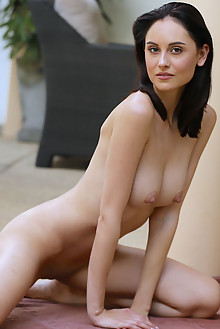 Sade Mare in Patio Day by Dave Lee outdoor brunette brown eyes black hair shaved pussy fingering ass