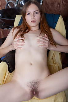 Shaya in Hobbyist by Albert Varin indoor redhead green eyes hairy unshaven pussy custom