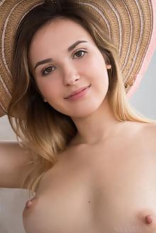 Anata in Hammock Hangin by Koenart indoor blonde brown eyes boobies shaved pussy labia custom