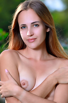Hailey in Natures Beauty by Matiss outdoor sunny river woods blonde green eyes shaved pussy ass custom