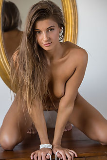 melena a new model presenting deltagamma indoor brunette brown shaved pussy tight