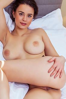 Arcadia in Skylight by Albert Varin indoor brunette brown eyes boobies shaved pussy