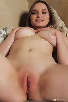 Presenting Olivia Myers by Flora indoor blonde green eyes boobies shaved ass pussy custom