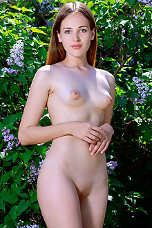 Hailey in Lilacs by Matiss outdoor sunny brunette green eyes puffy nipples boobies shaved tight pussy