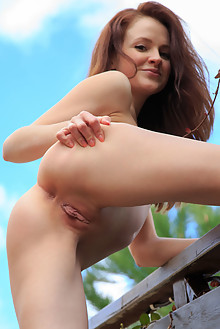 Alice May in Afternoon Date by Rylsky outdoor sunny redhead green eyes shaved pussy