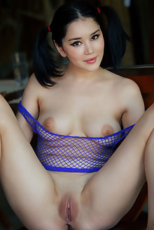 Malena in Purple Mesh by Arkisi indoor brunette black hair brown eyes boobies shaved tight pussy ass