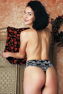 Callista B in Miltei by Rylsky indoor brunette black hair brown eyes trimmed pussy labia