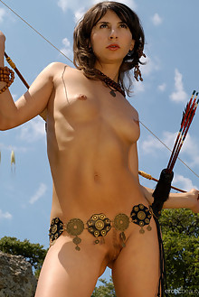 Vetta A in Jungle Queen 2 by Slava Zemskov outdoor woods brunette brown eyes shaved latest