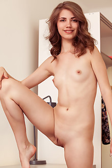 Jasmina in Capris by Albert Varin indoor brunette green eyes small tits shaved