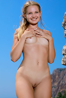 Gabriella in Sharp Edges by Matiss outdoor sunny seaside beach blonde blue eyes shaved tight pussy custom