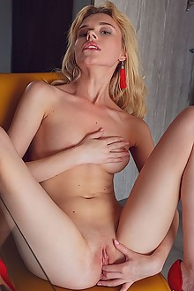 Angel Sway in Red Hat by Alex Lynn indoor blonde shaved pussy fingering