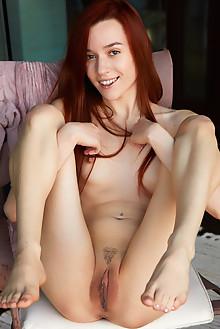 Sherice in Sheer Lavender by Erro indoor redhead brown eyes ...