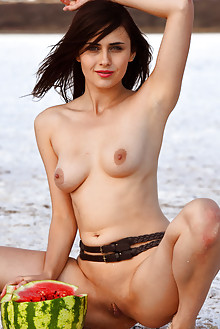 Mona in Cojena by Fabrice outdoor brunette black hair green eyes sunny shaved tight pussy boobies latest