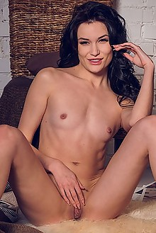 Elouisa in Winter Evening by Alex Lynn indoor brunette black hair brown eyes small tits shaved pussy fingering
