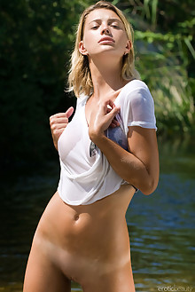 Vika R in Wet by Max Asolo outdoor sunny river wet blonde brown eyes tanned sgaced latest